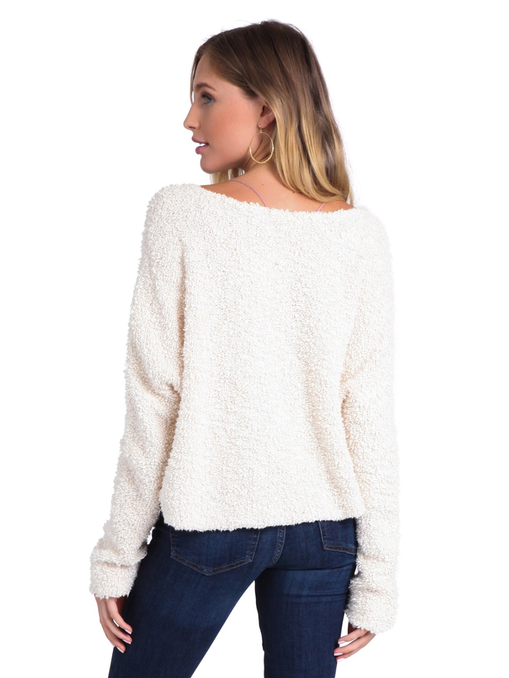 Women outfit in a sweater rental from Free People called Popcorn Pullover