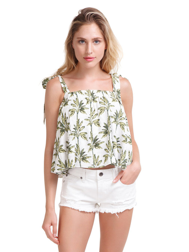 Woman wearing a top rental from Show Me Your Mumu called Donovan Crop Top