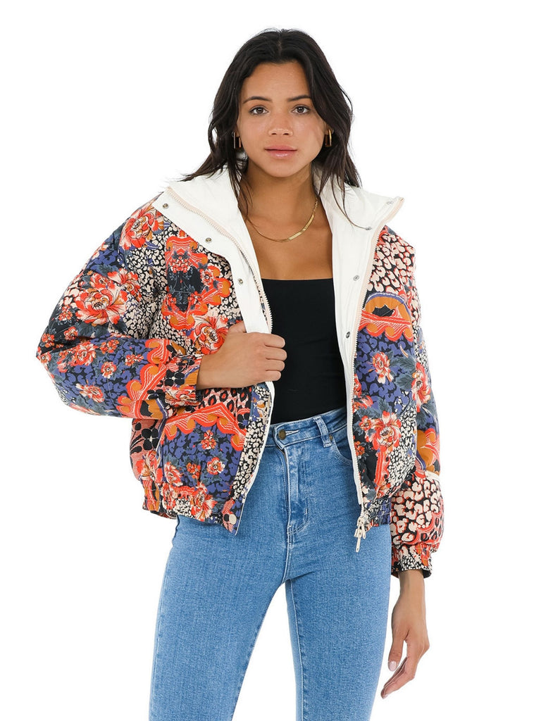 Women wearing a jacket rental from Free People called Power House Puffer