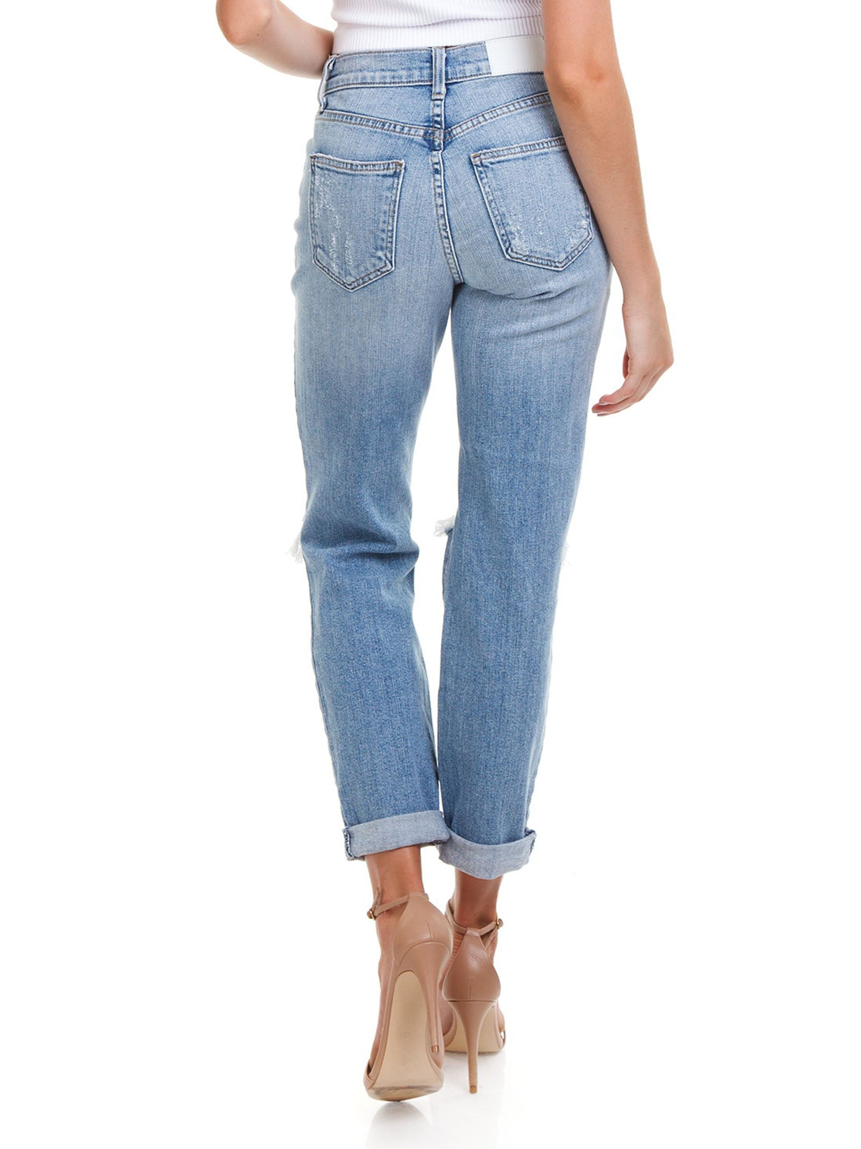 Women outfit in a denim rental from PISTOLA called Presley High Rise Girlfriend Jeans