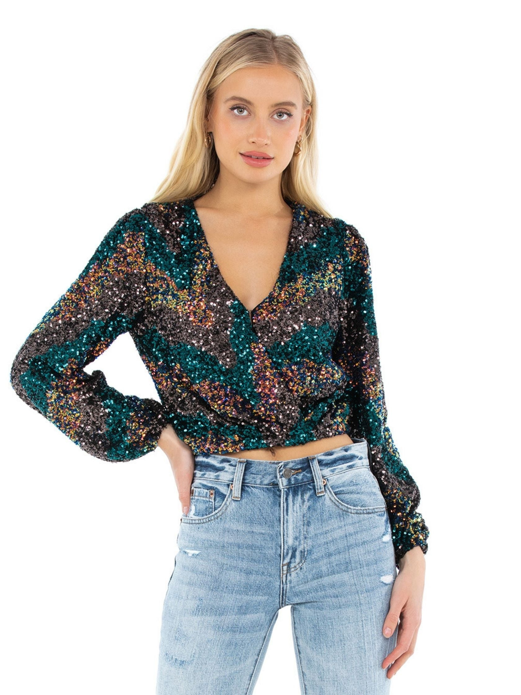 Woman wearing a top rental from ASTR called Primadonna Sequin Top