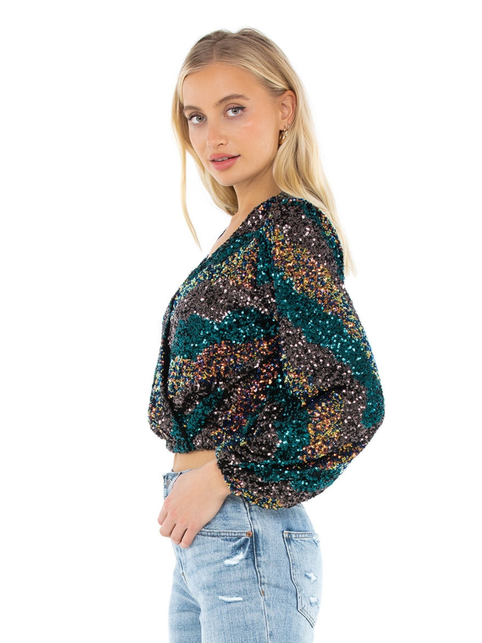 Women wearing a top rental from ASTR called Primadonna Sequin Top