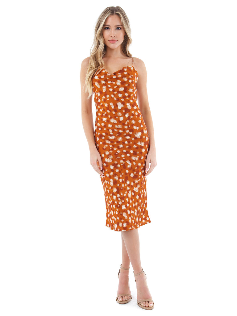 Women wearing a dress rental from BARDOT called Printed Slip Dress