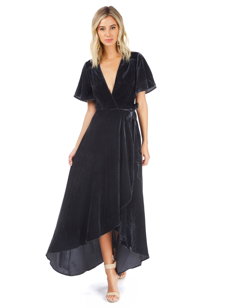Women outfit in a dress rental from Privacy Please called Meryl Long Sleeve Wrap Maxi Dress