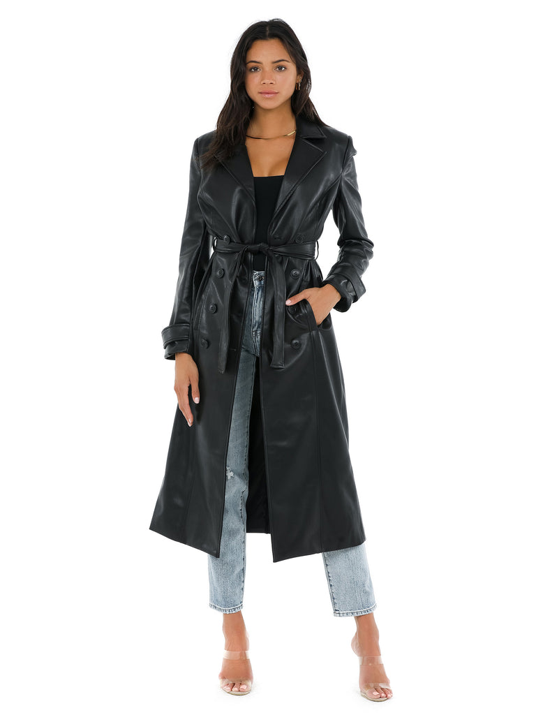 Women wearing a coat rental from BARDOT called Pu Trench Coat
