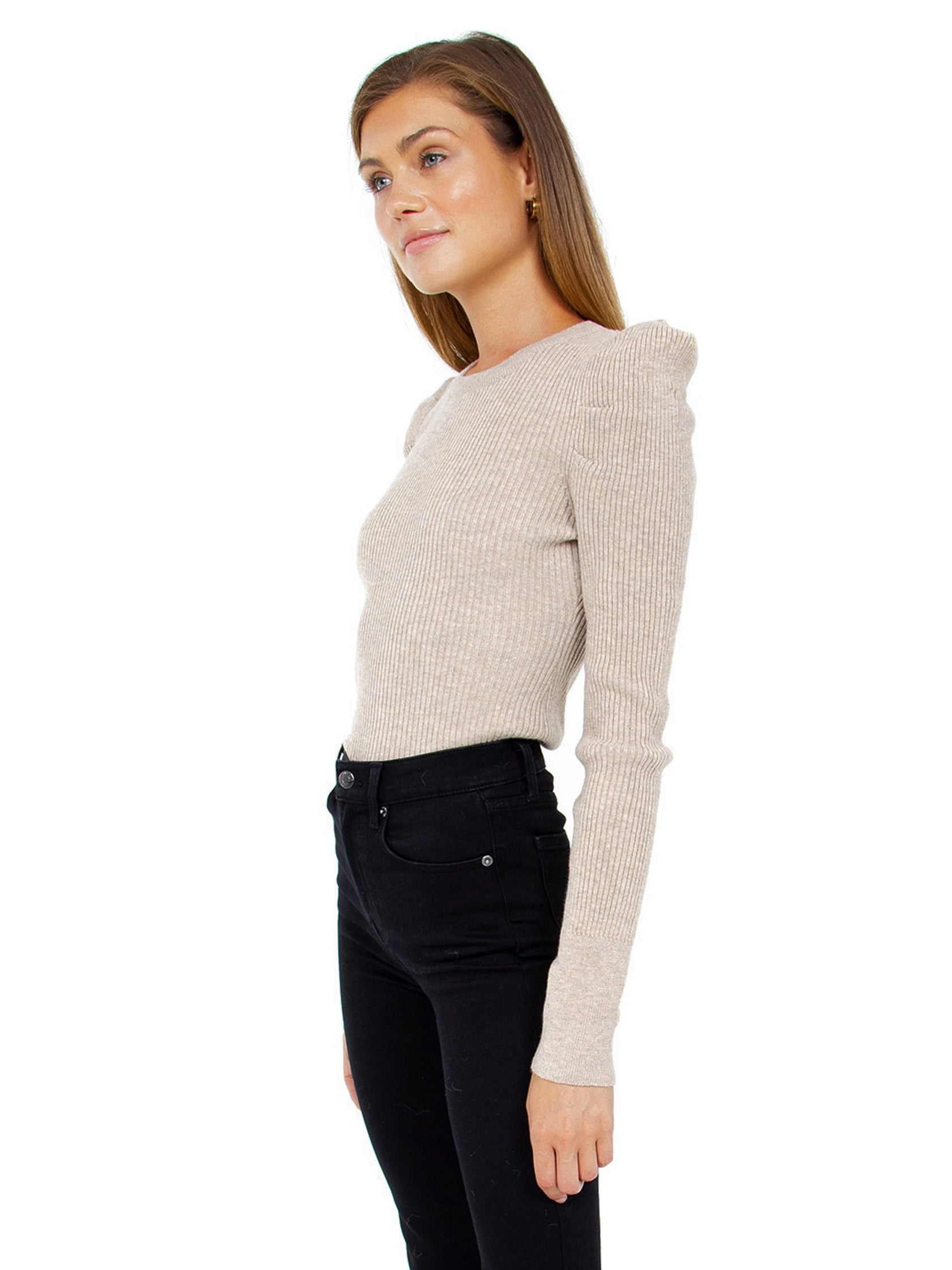 Women wearing a sweater rental from FashionPass called Puff Sleeve Rib Sweater