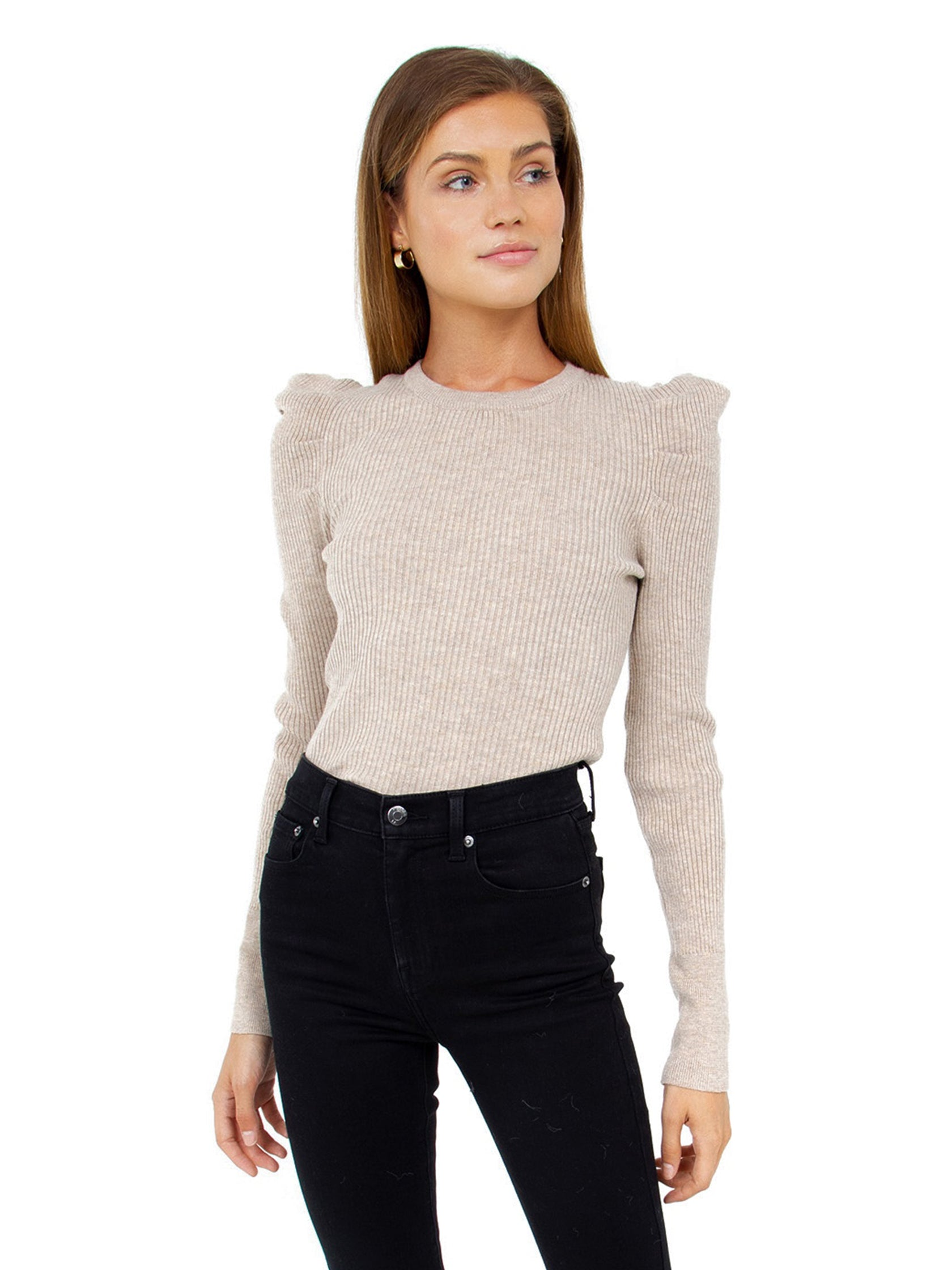 Woman wearing a sweater rental from FashionPass called Puff Sleeve Rib Sweater