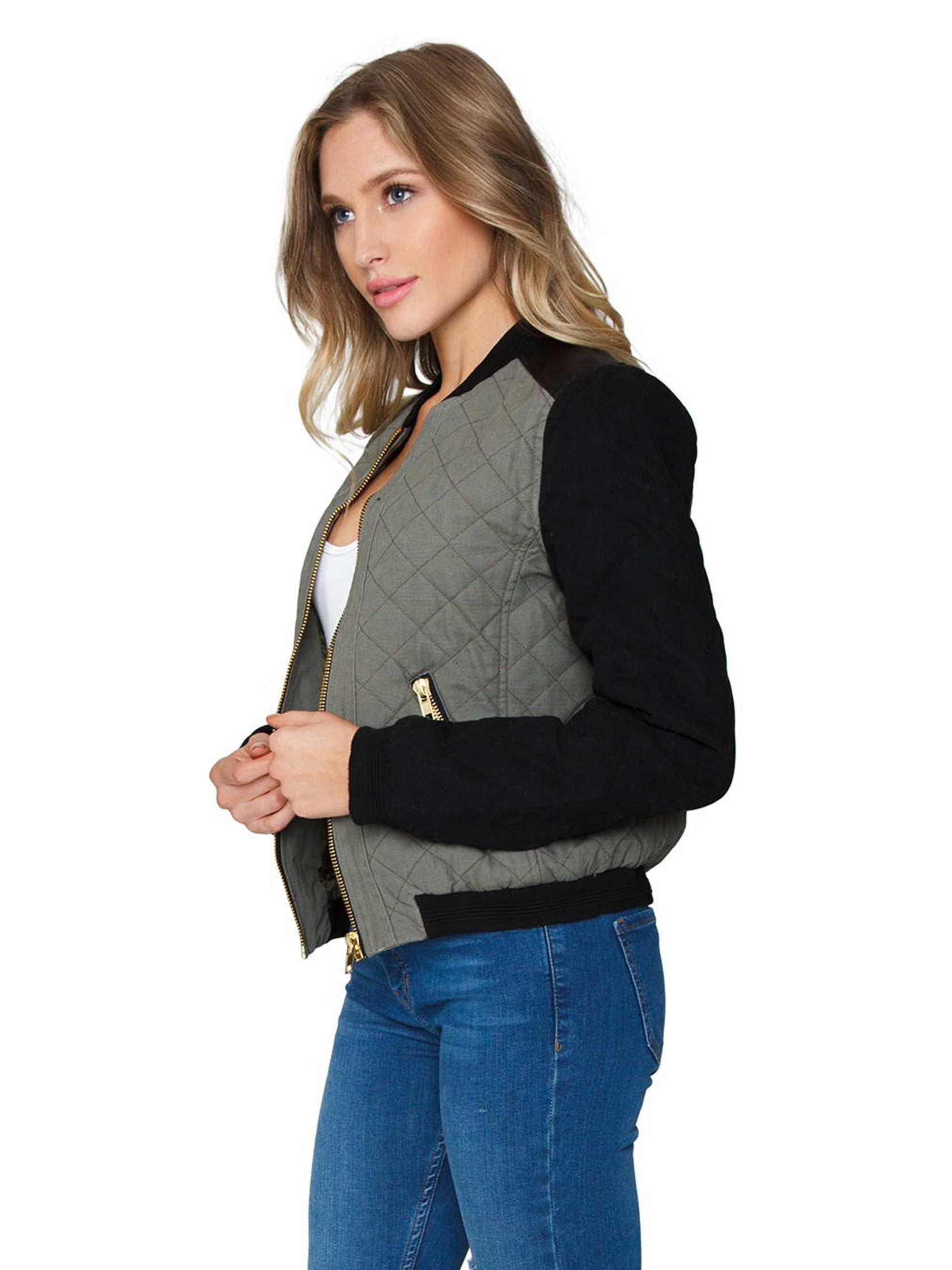 Women wearing a jacket rental from FashionPass called Quilted Bomber Jacket