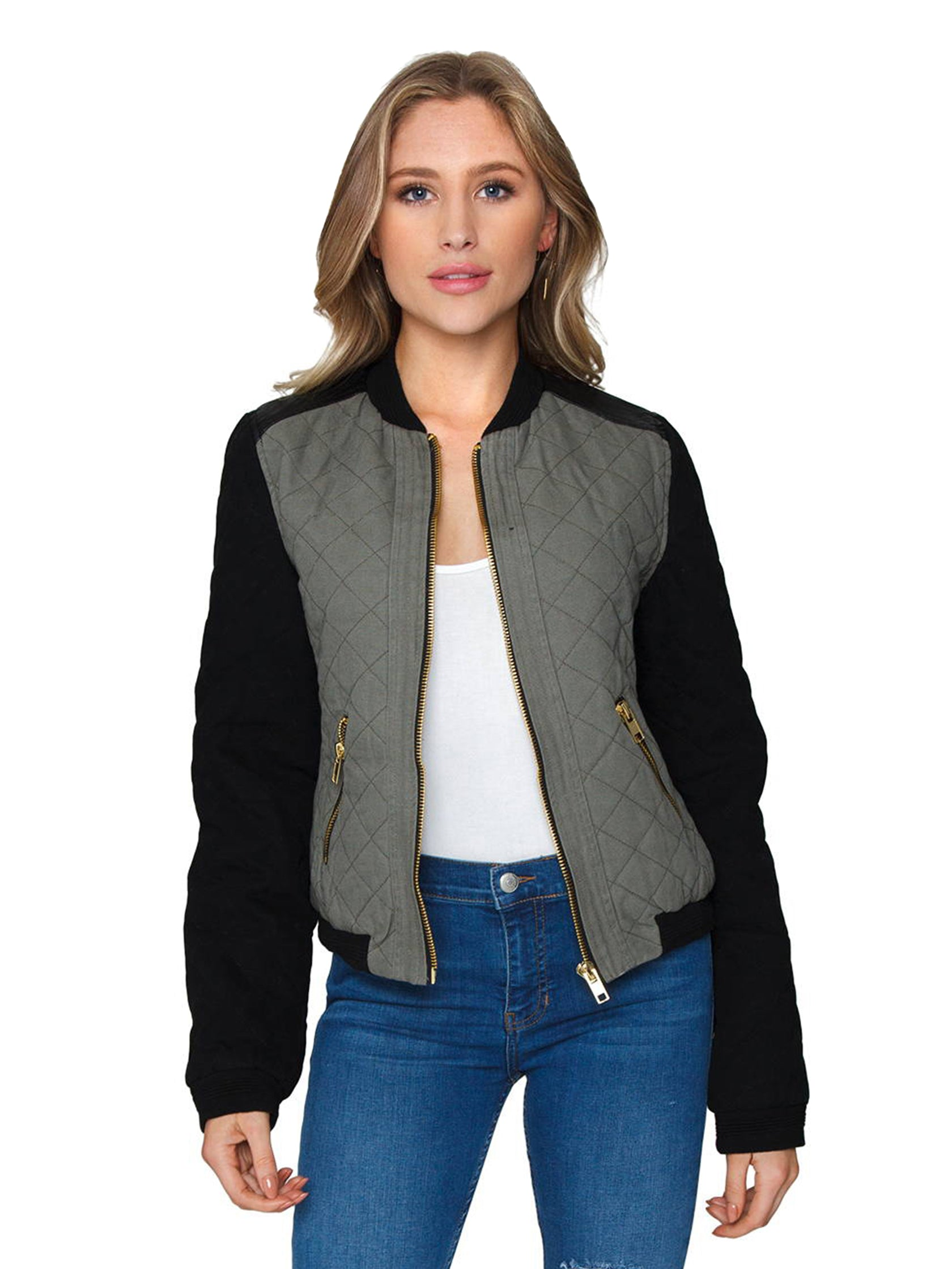 Woman wearing a jacket rental from FashionPass called Quilted Bomber Jacket