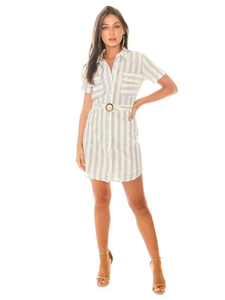 Women outfit in a dress rental from Heartloom called Rib Henley Shirttail Dress