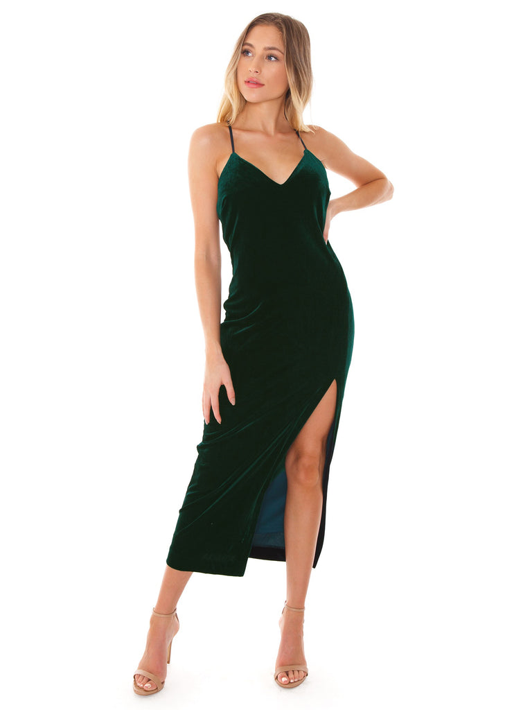 Women outfit in a dress rental from BARDOT called Tiffany One-shoulder Midi Dress