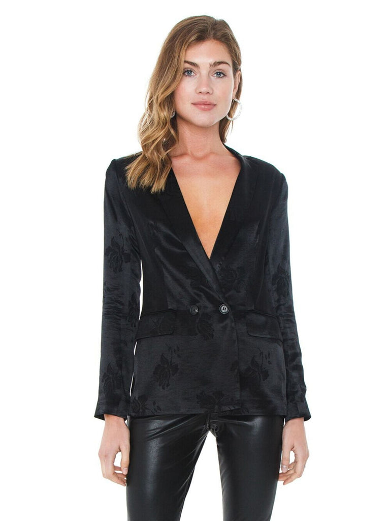 Women wearing a blazer rental from 1.STATE called Faux Snakeskin Moto Jacket