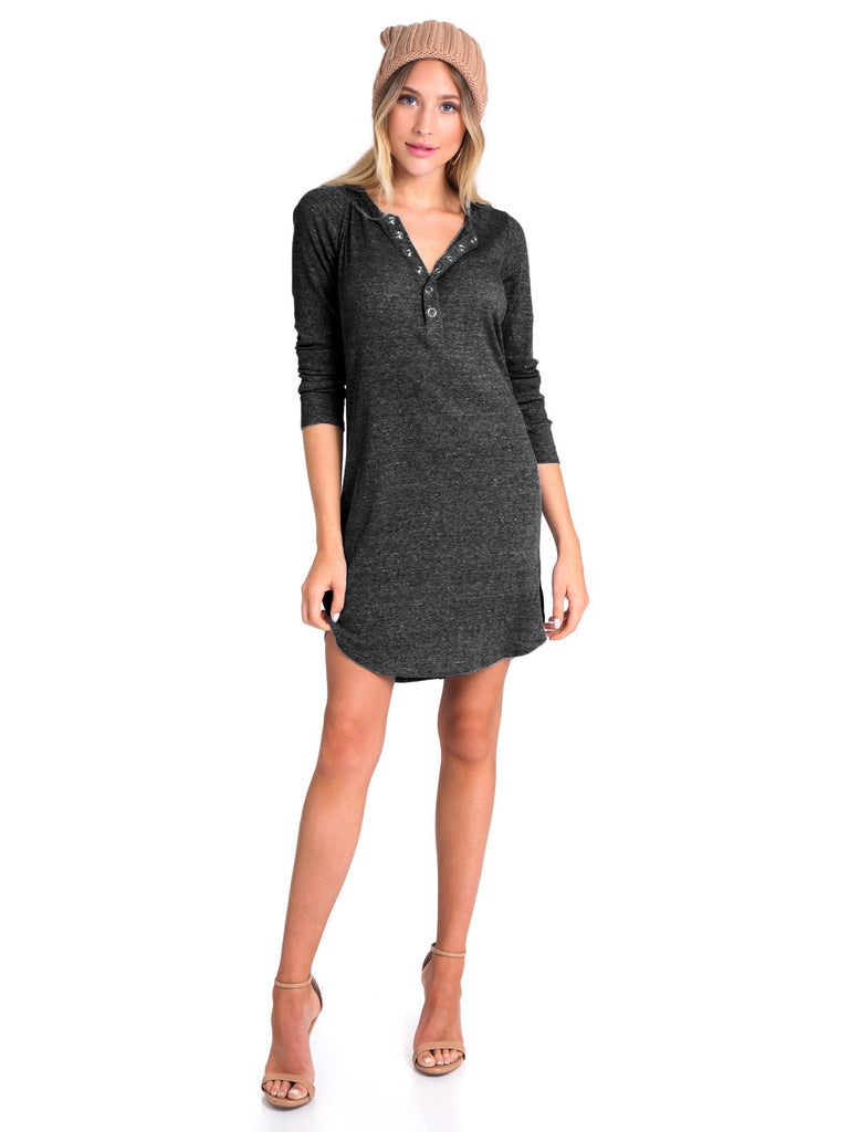Woman wearing a dress rental from Chaser called Rib Henley Shirttail Dress