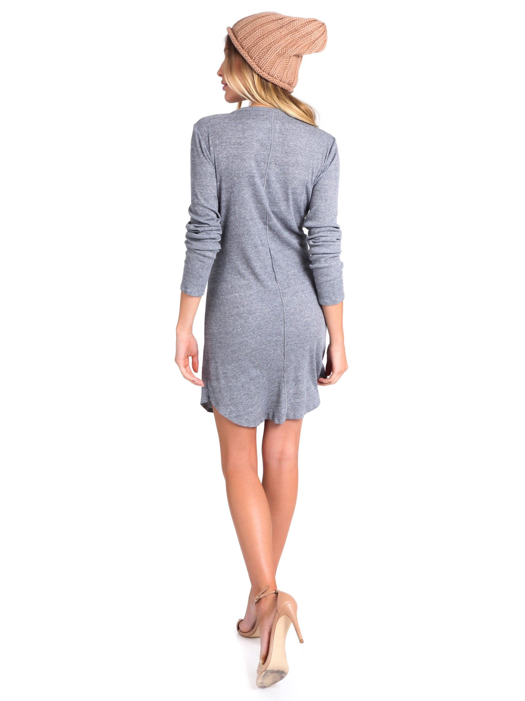 Women wearing a dress rental from Chaser called Rib Henley Shirttail Dress
