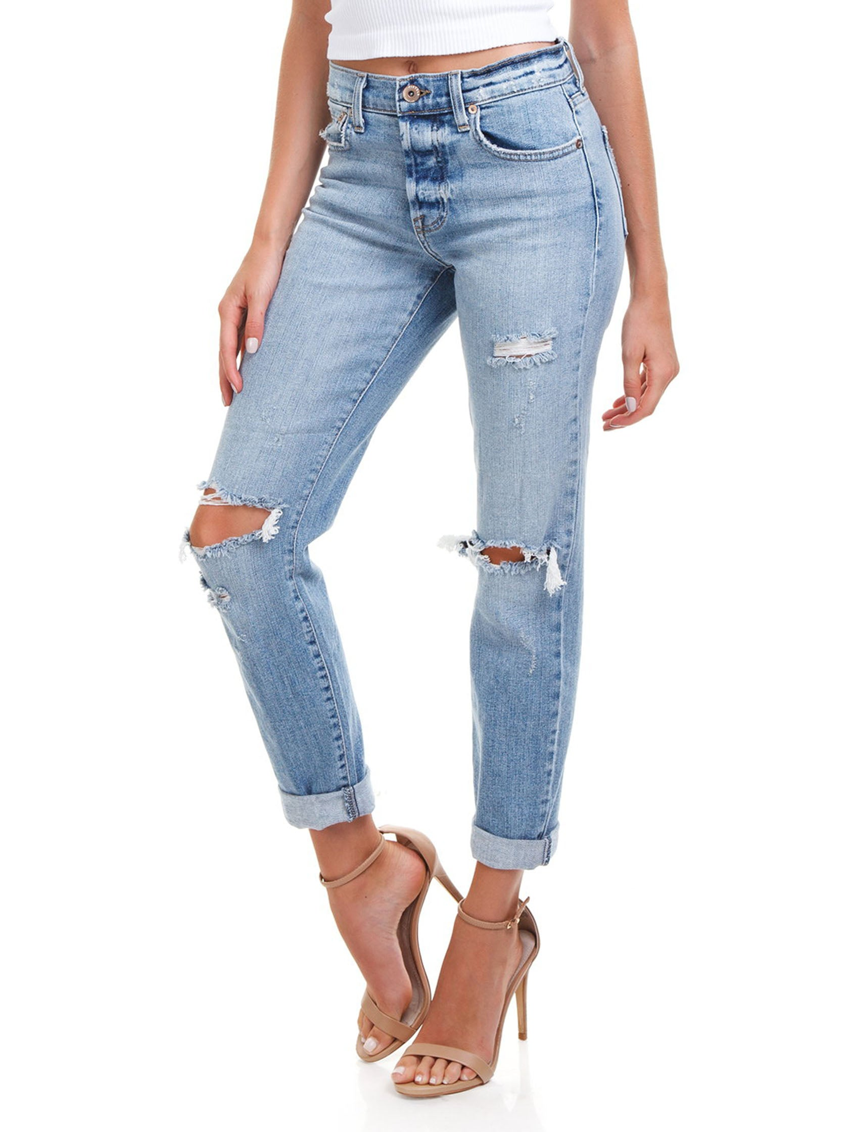 Women wearing a denim rental from PISTOLA called Presley High Rise Girlfriend Jeans