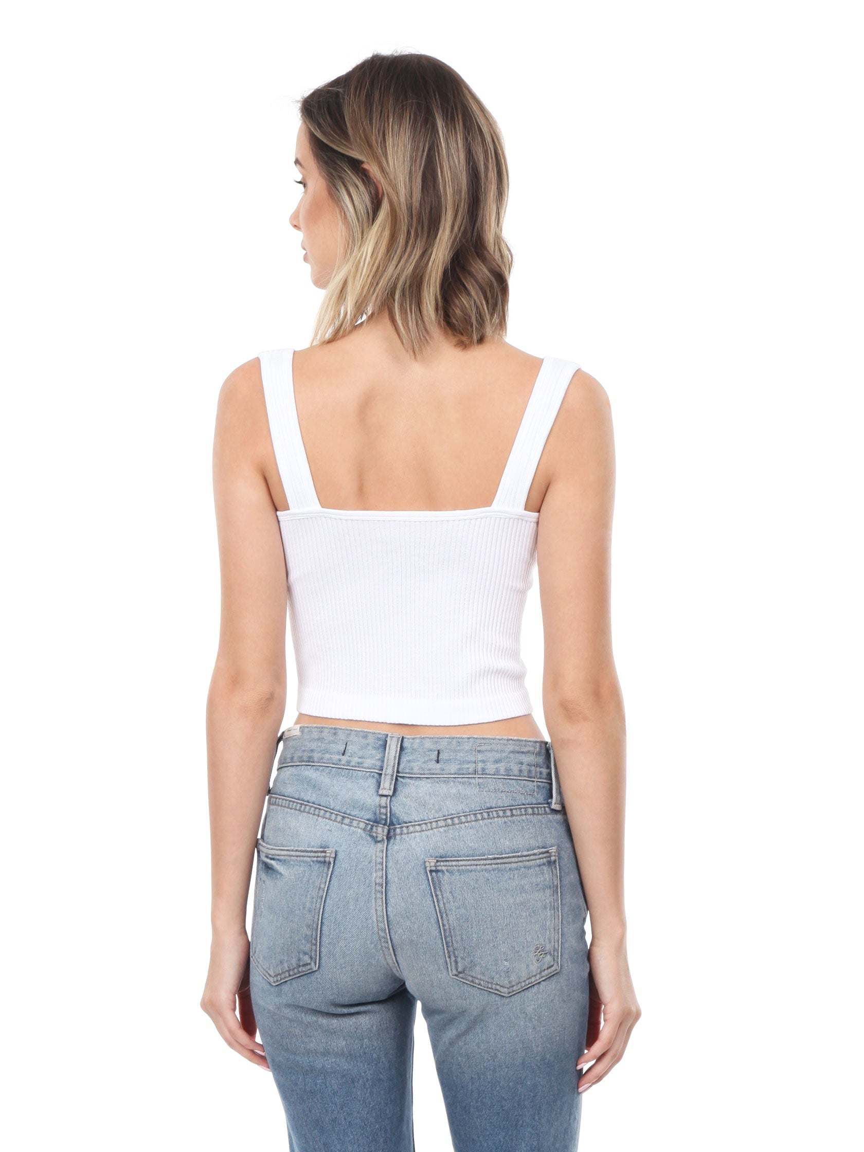 Women outfit in a cami rental from Free People called Ribbed Cropped Tank Top