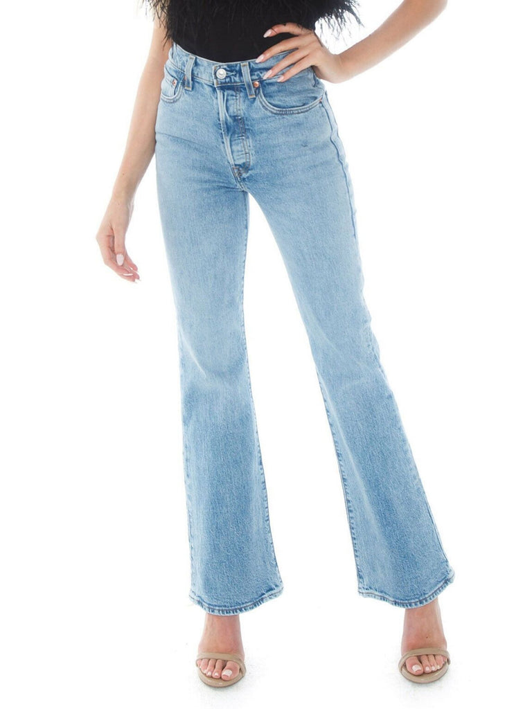 Women wearing a pants rental from Levis called Shady Crop Cami