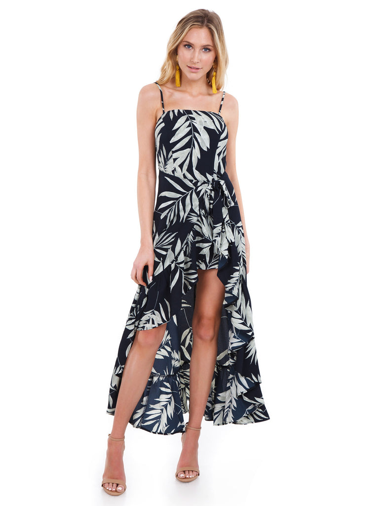 6cab68cdff0 Women wearing a jumpsuit rental from Show Me Your Mumu called Rocco Romper  Maxi Dress ...