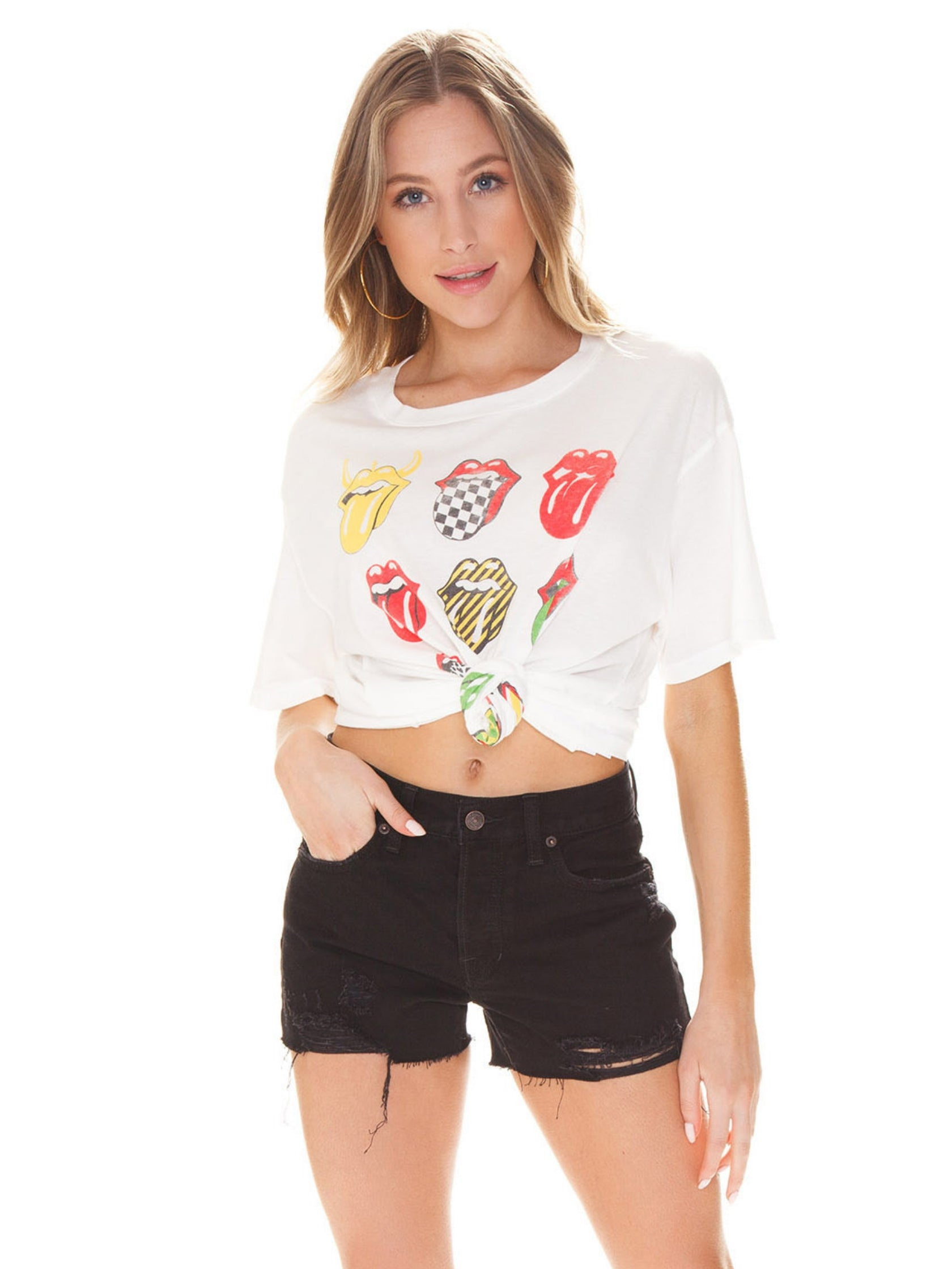 Women outfit in a top rental from DAYDREAMER called Rolling Stones 12 Tongues Boyfriend Tee