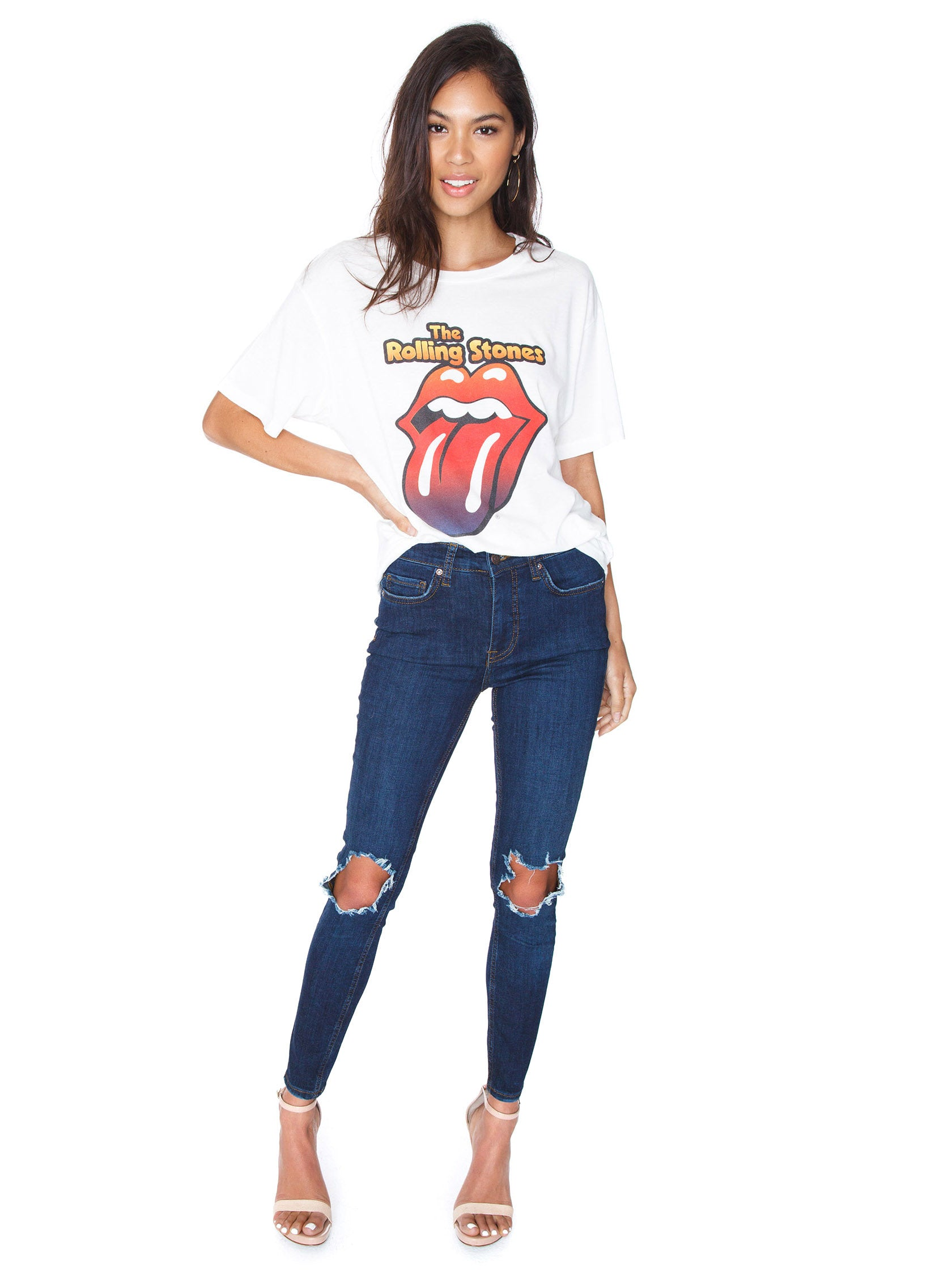 Girl wearing a top rental from DAYDREAMER called Rolling Stones Gradient Tongue Tee