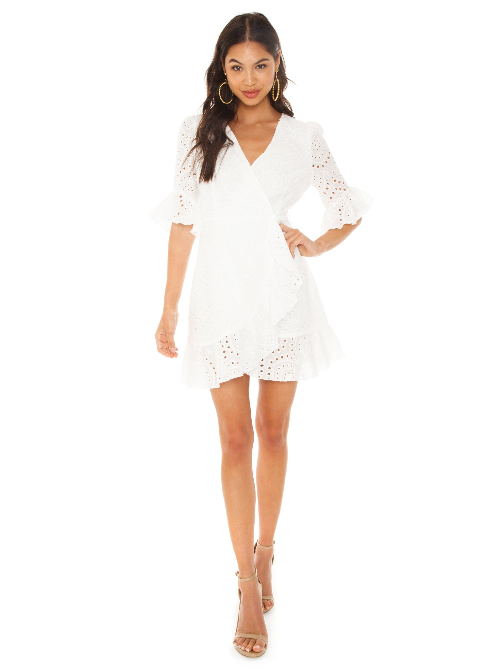 Girl outfit in a dress rental from Lost In Lunar called Romi Wrap Dress