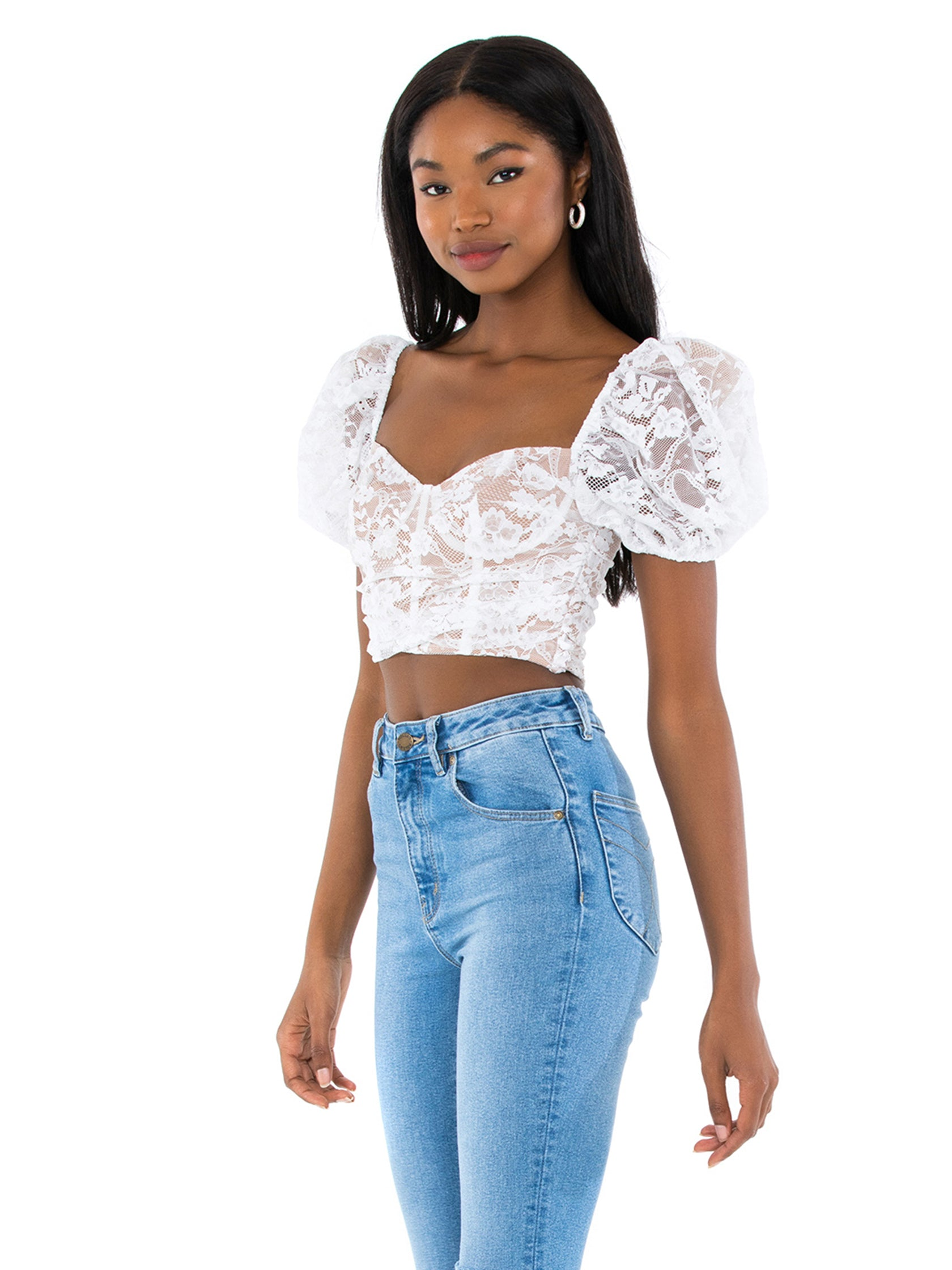 Women wearing a top rental from For Love & Lemons called Rosalie Crop Top