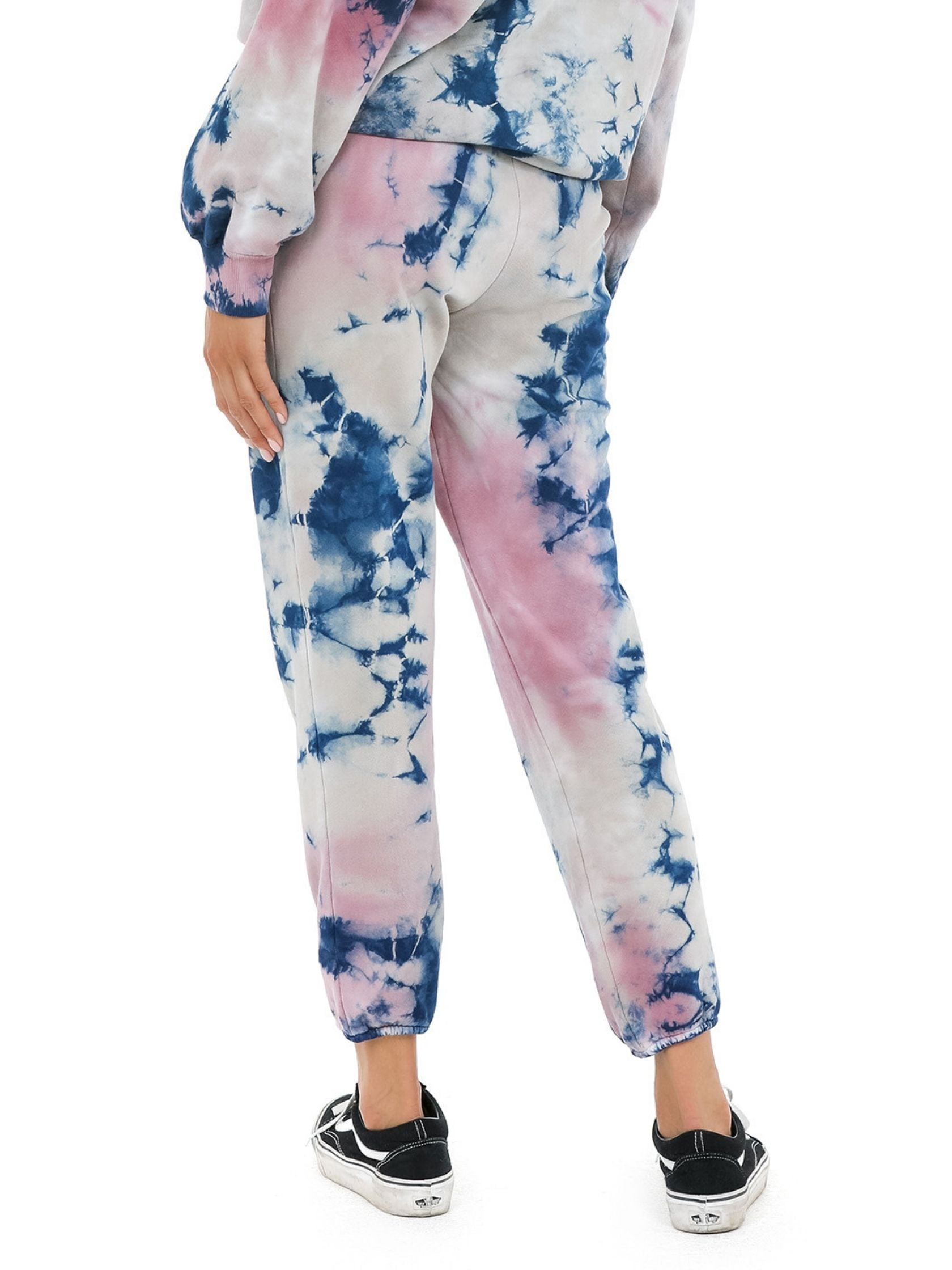 Women outfit in a joggers rental from DAYDREAMER called Rouge Storm Tie Dye Jogger