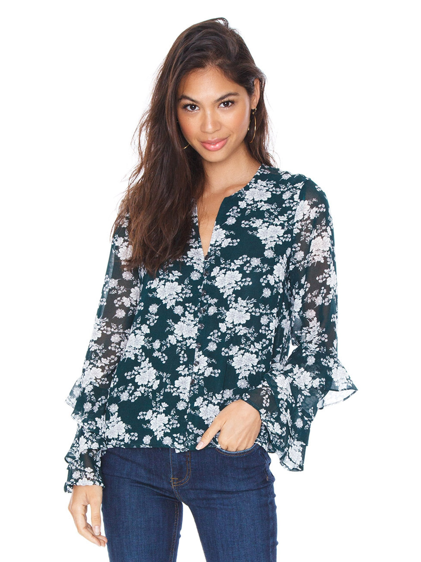 Woman wearing a top rental from 1.STATE called Ruffle Sleeve Blouse