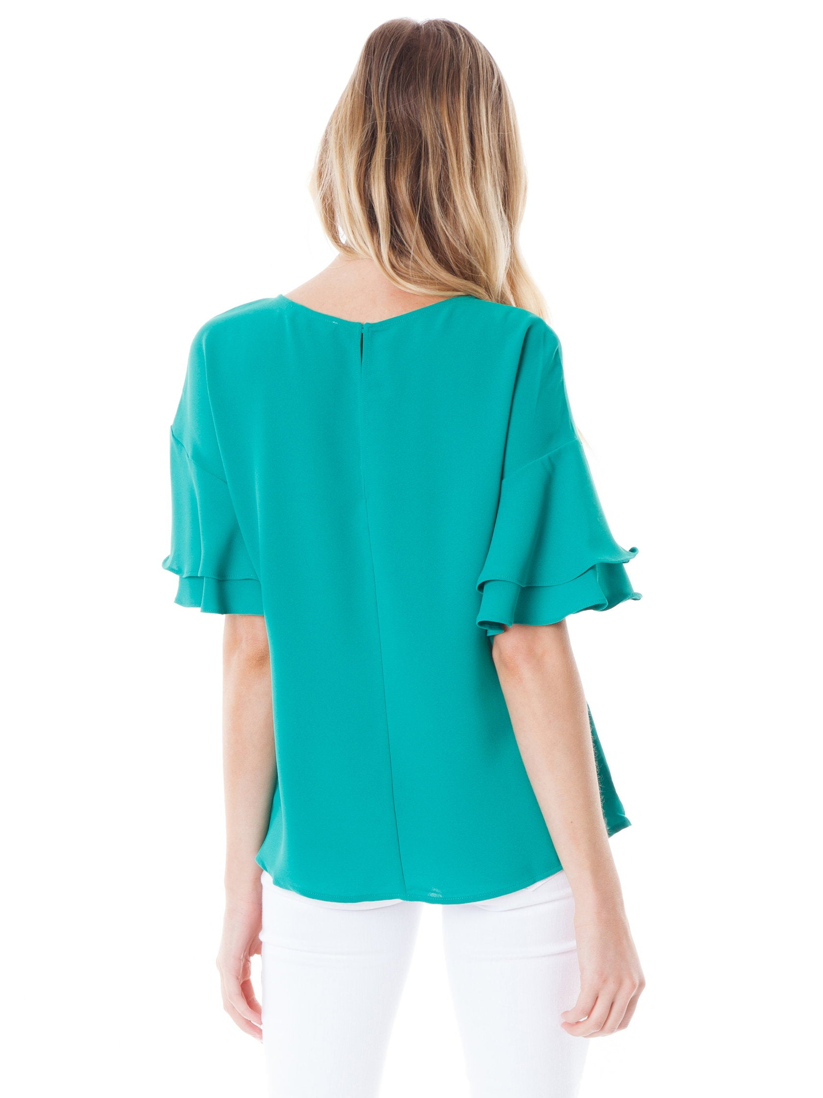 Women outfit in a top rental from Lush called Ruffle Sleeve Top