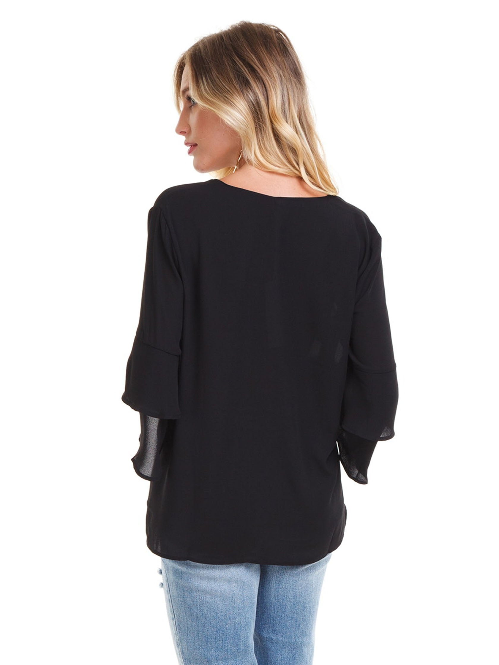 Women outfit in a top rental from Lush called V-neck Ruffle Sleeve Top