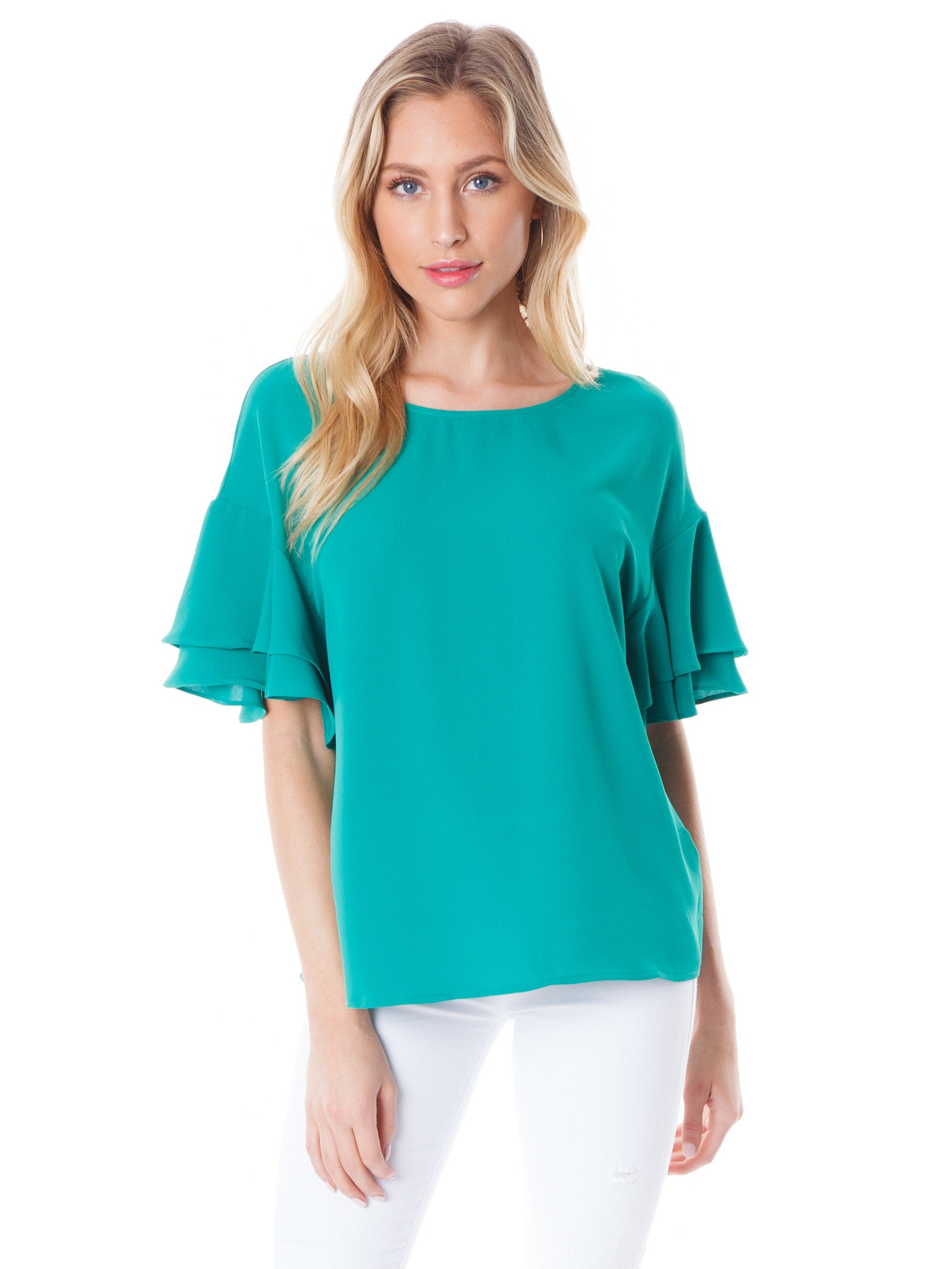 Woman wearing a top rental from Lush called Ruffle Sleeve Top