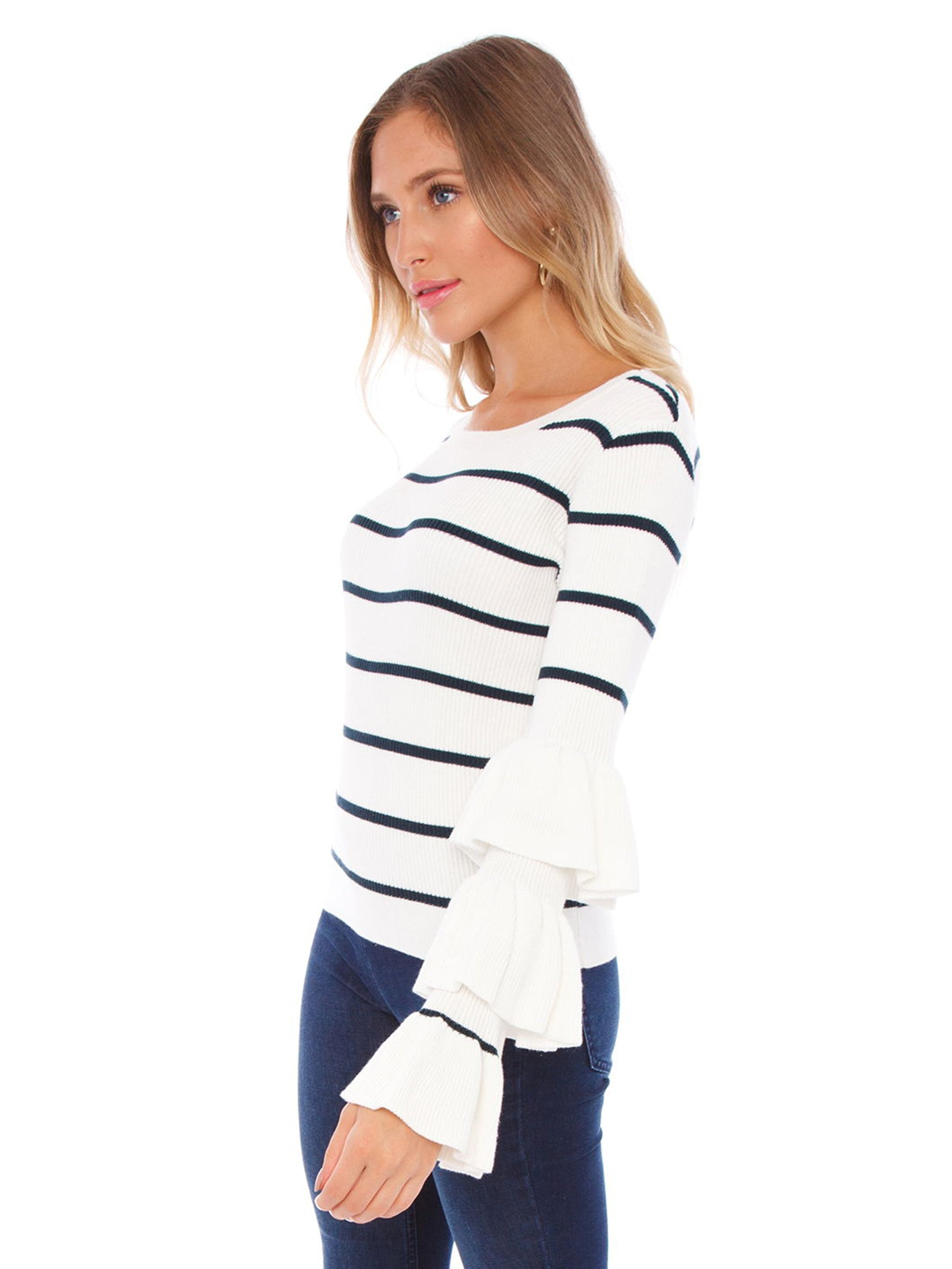 Women wearing a sweater rental from Chaser called Ruffle Sleeve Striped Sweater