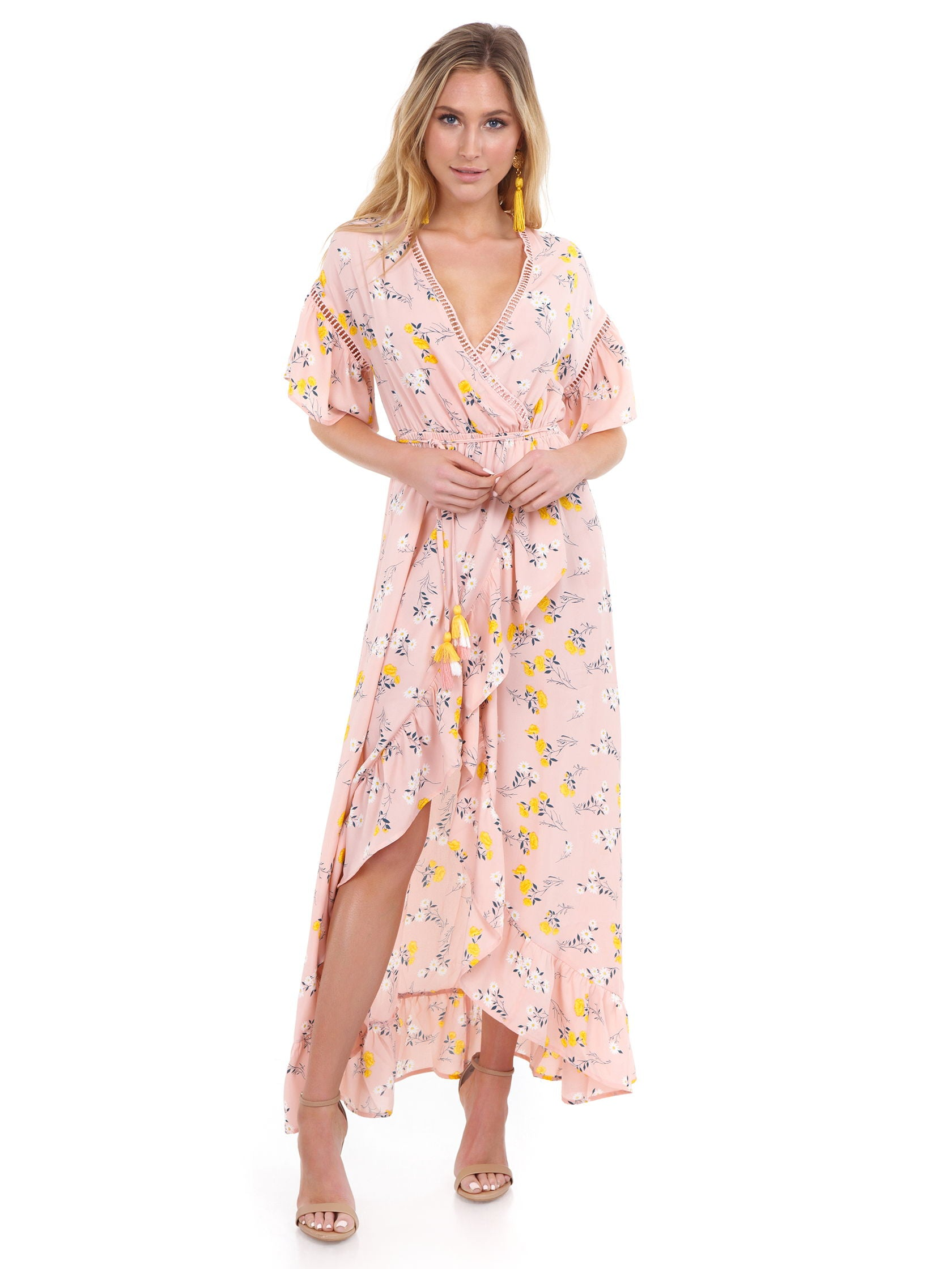 Girl outfit in a dress rental from Moon River called Ruffle Sleeve Wrap Dress