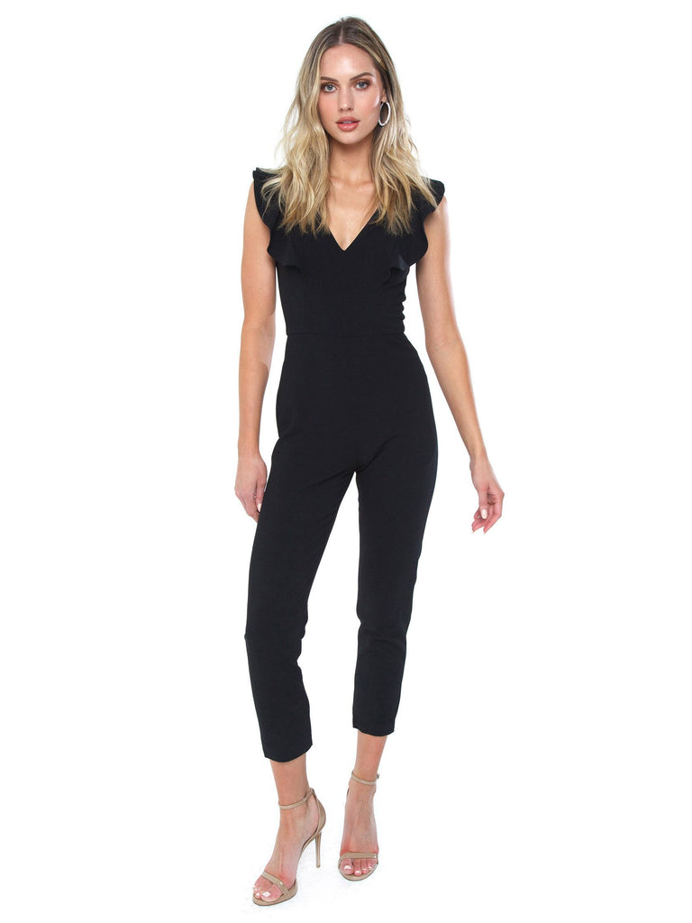 Girl outfit in a jumpsuit rental from French Connection called Constance Drape Cold Shoulder Dress
