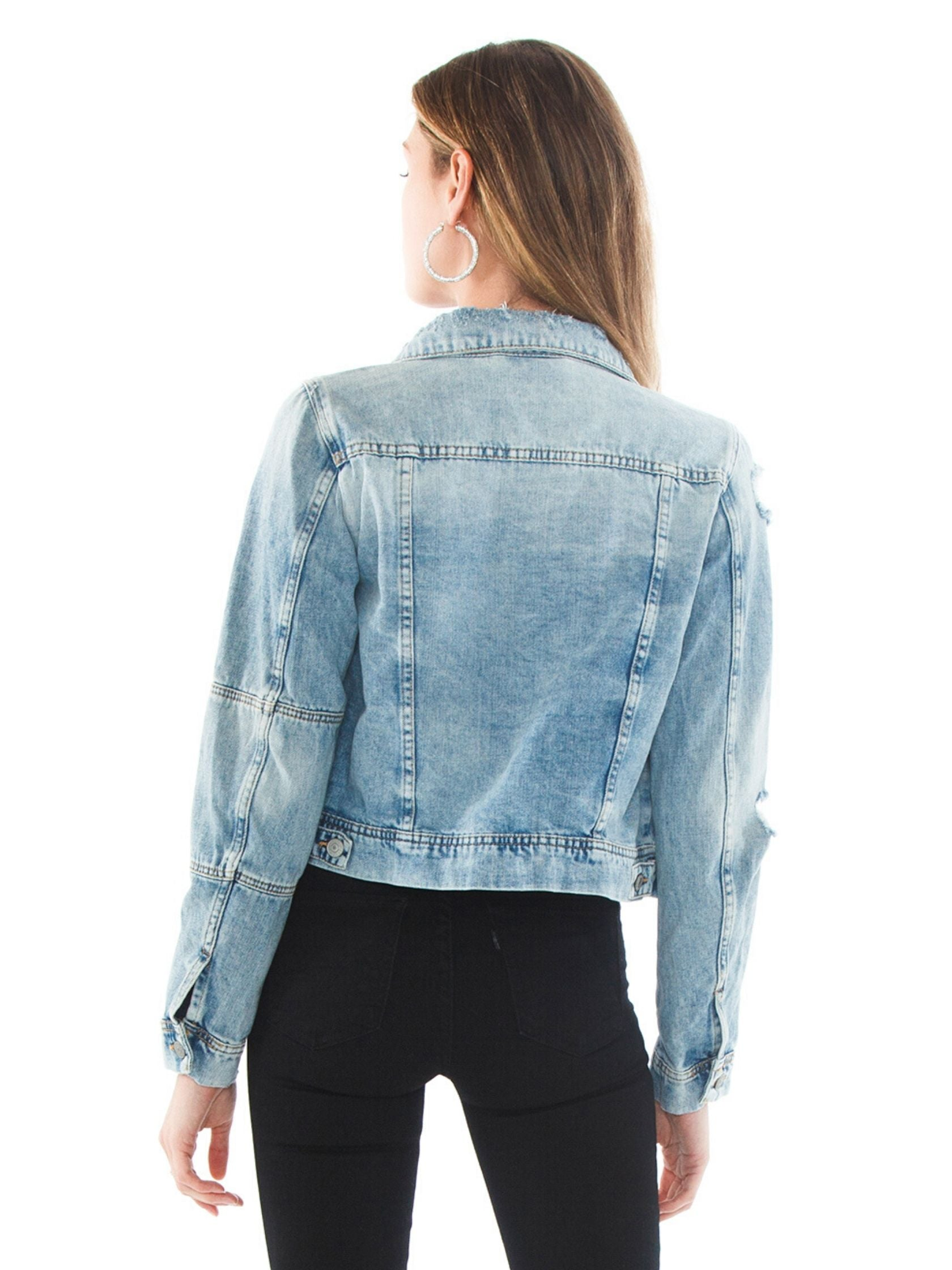 Women outfit in a jacket rental from Free People called Rumors Denim Jacket