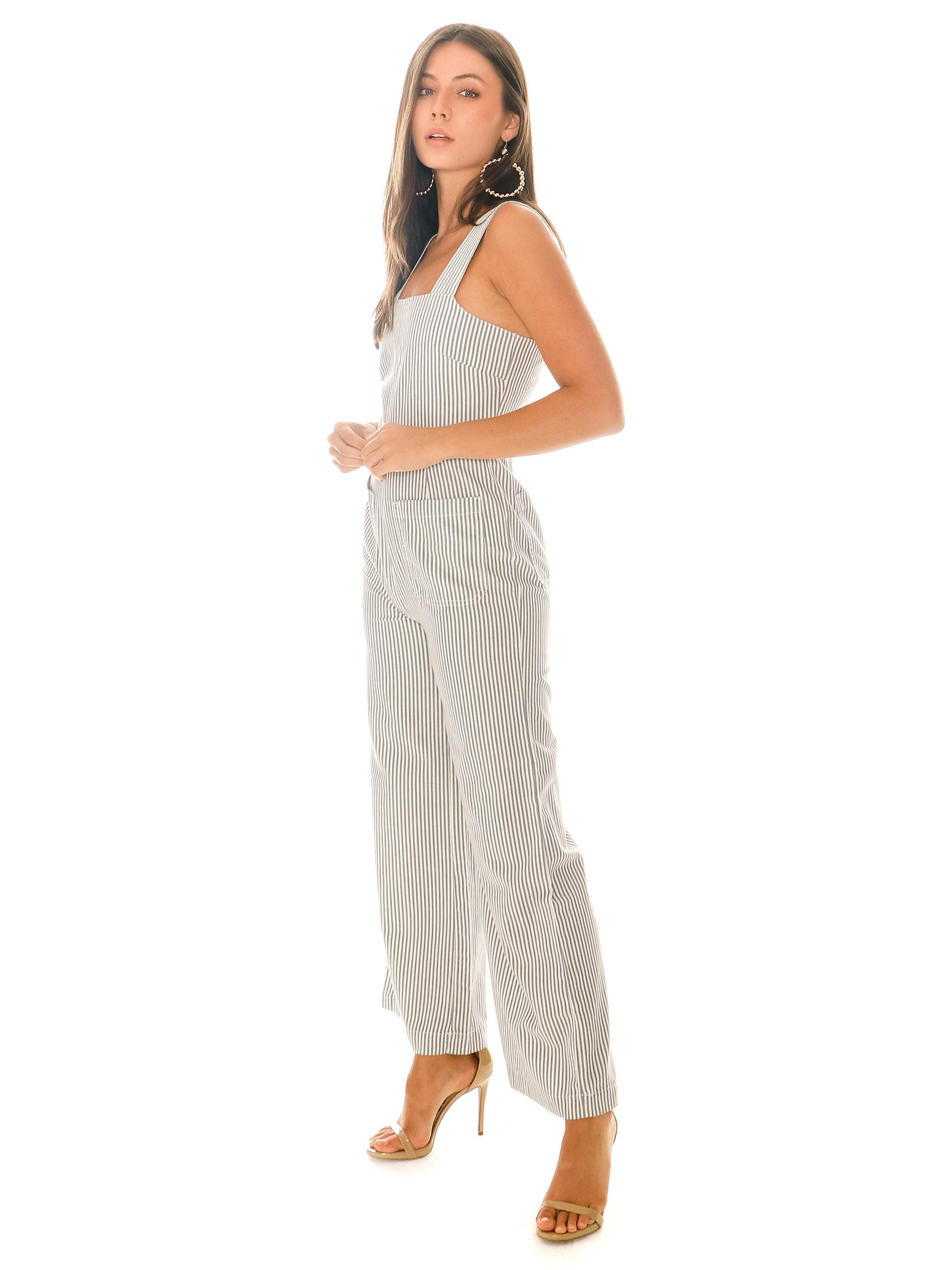 Women outfit in a jumpsuit rental from ROLLAS called Sailor Stripe Jumpsuit