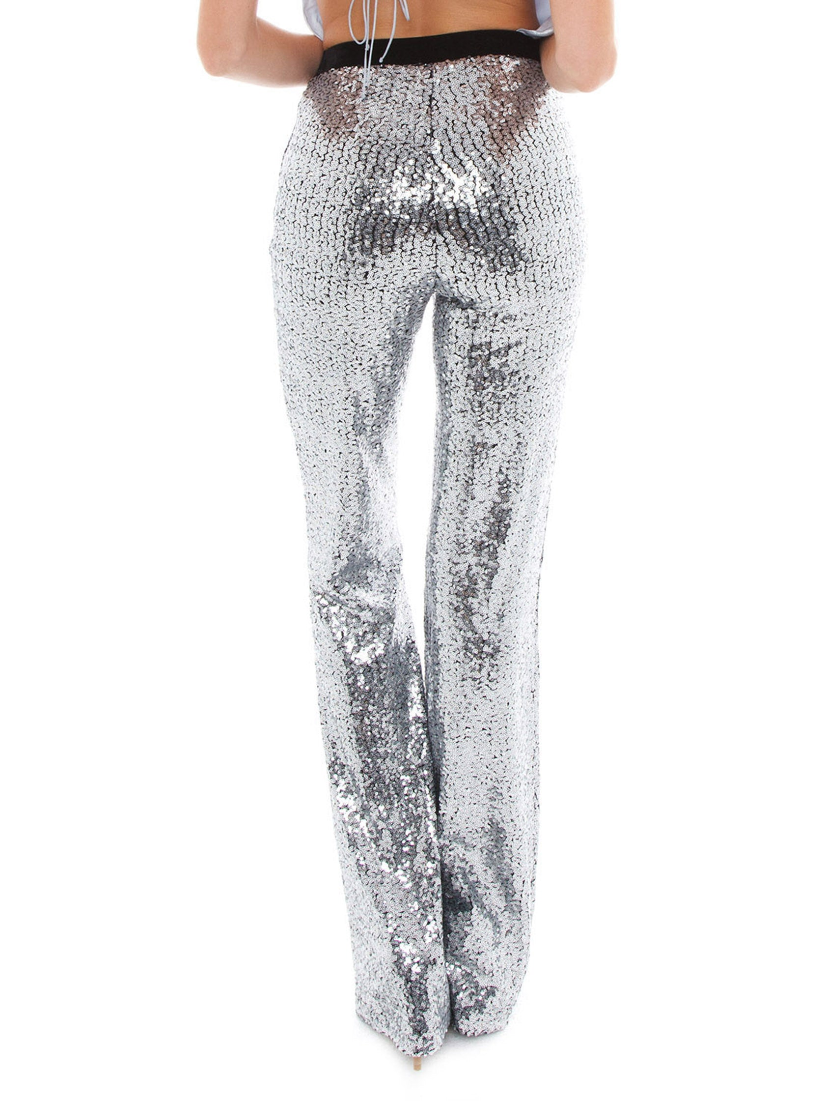 Women outfit in a pants rental from BB Dakota called Saturday Night Fever Sequin Flared Pant