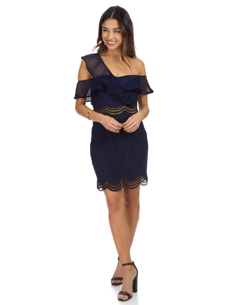 Women outfit in a dress rental from Saylor called Navy Drive Me Home Mini Dress