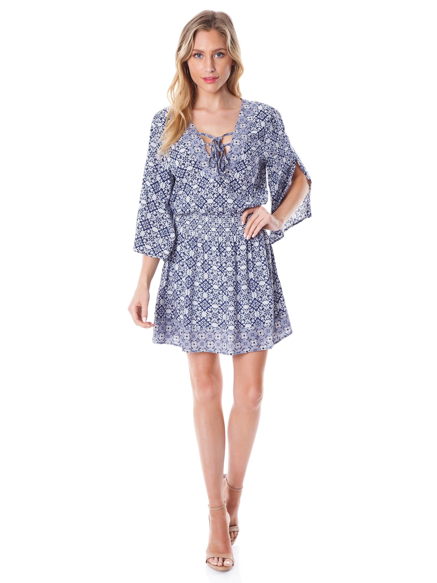 Women outfit in a dress rental from BB Dakota called Saylor Printed Dress