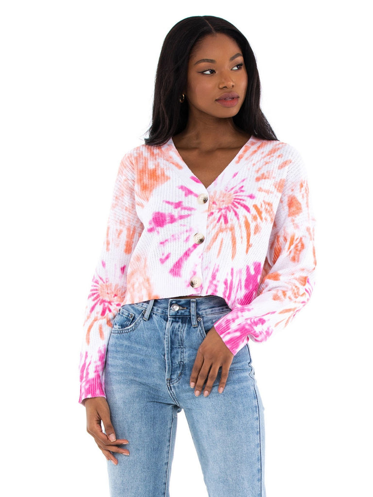 Women outfit in a cardigan rental from Line & Dot called Grateful Dead Tie Dye Long Sleeve Crop