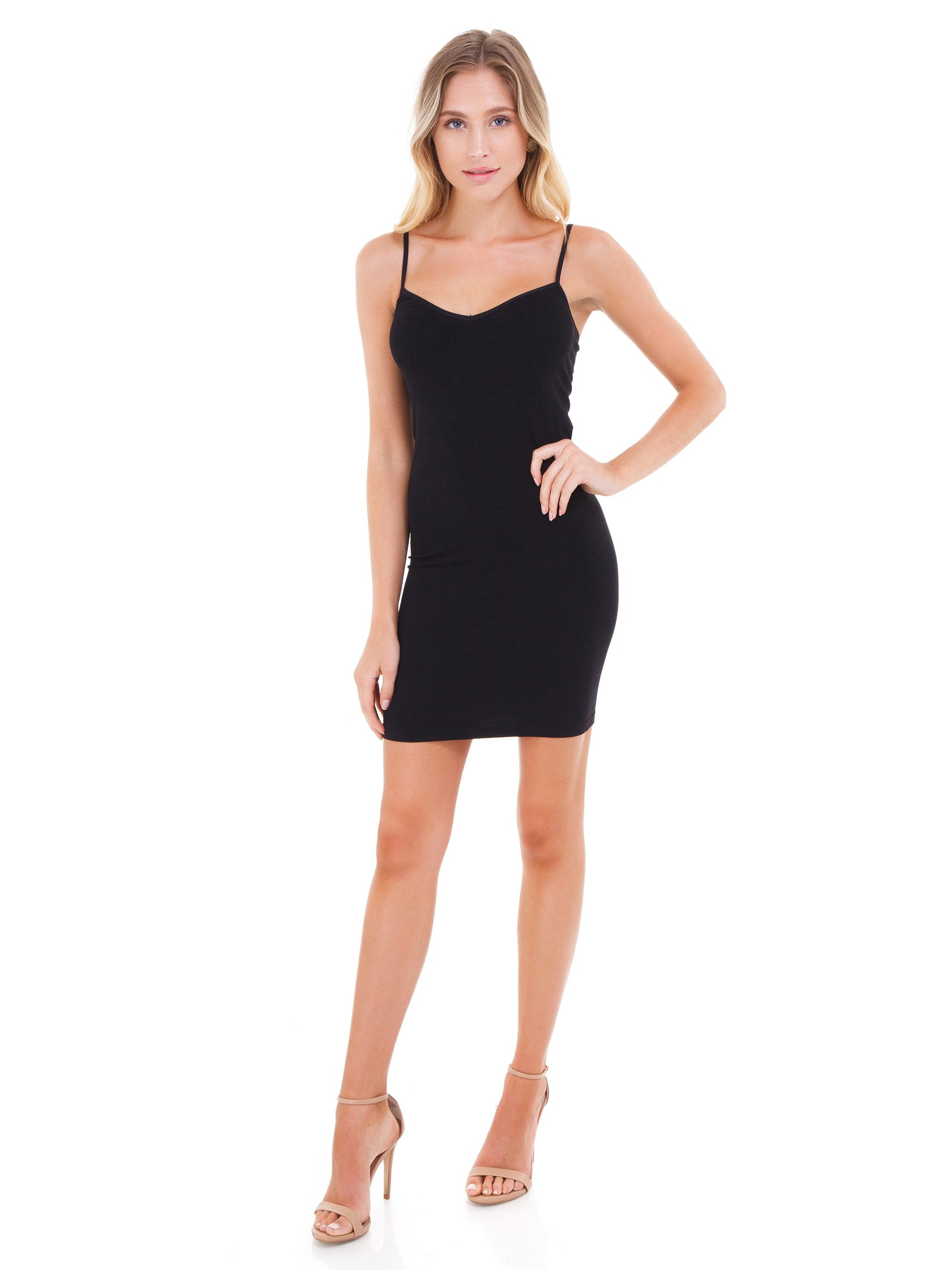 5bd7a8bacd1a1 Women outfit in a slip rental from Free People called Seamless Mini Slip
