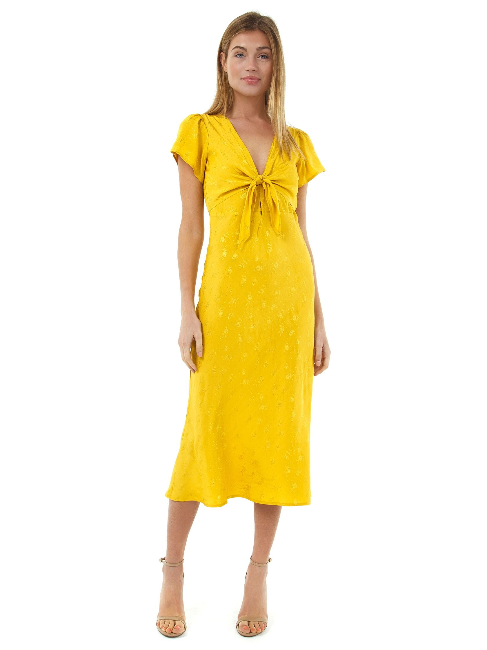 Girl outfit in a dress rental from ASTR called Serendipity Front Tie Midi Dress