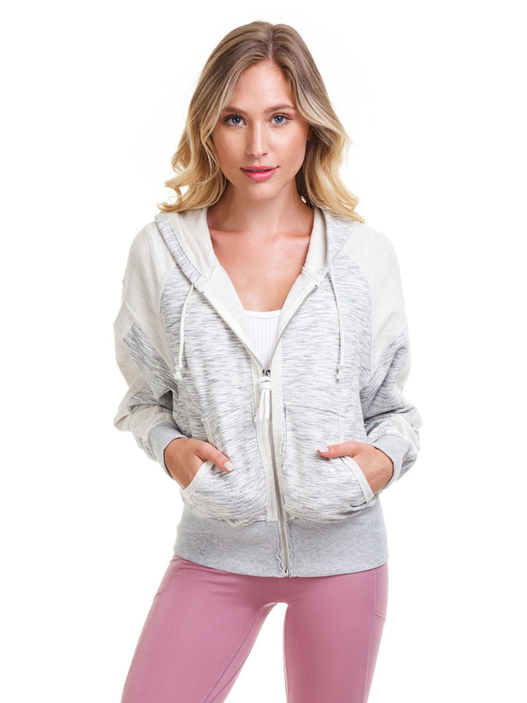 Women wearing a jacket rental from Free People called Shadowboxer Hoodie