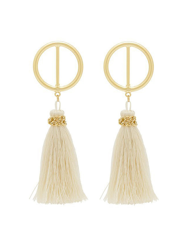 Women outfit in a earrings rental from Shashi called Ellie Coral Tassel Earrings
