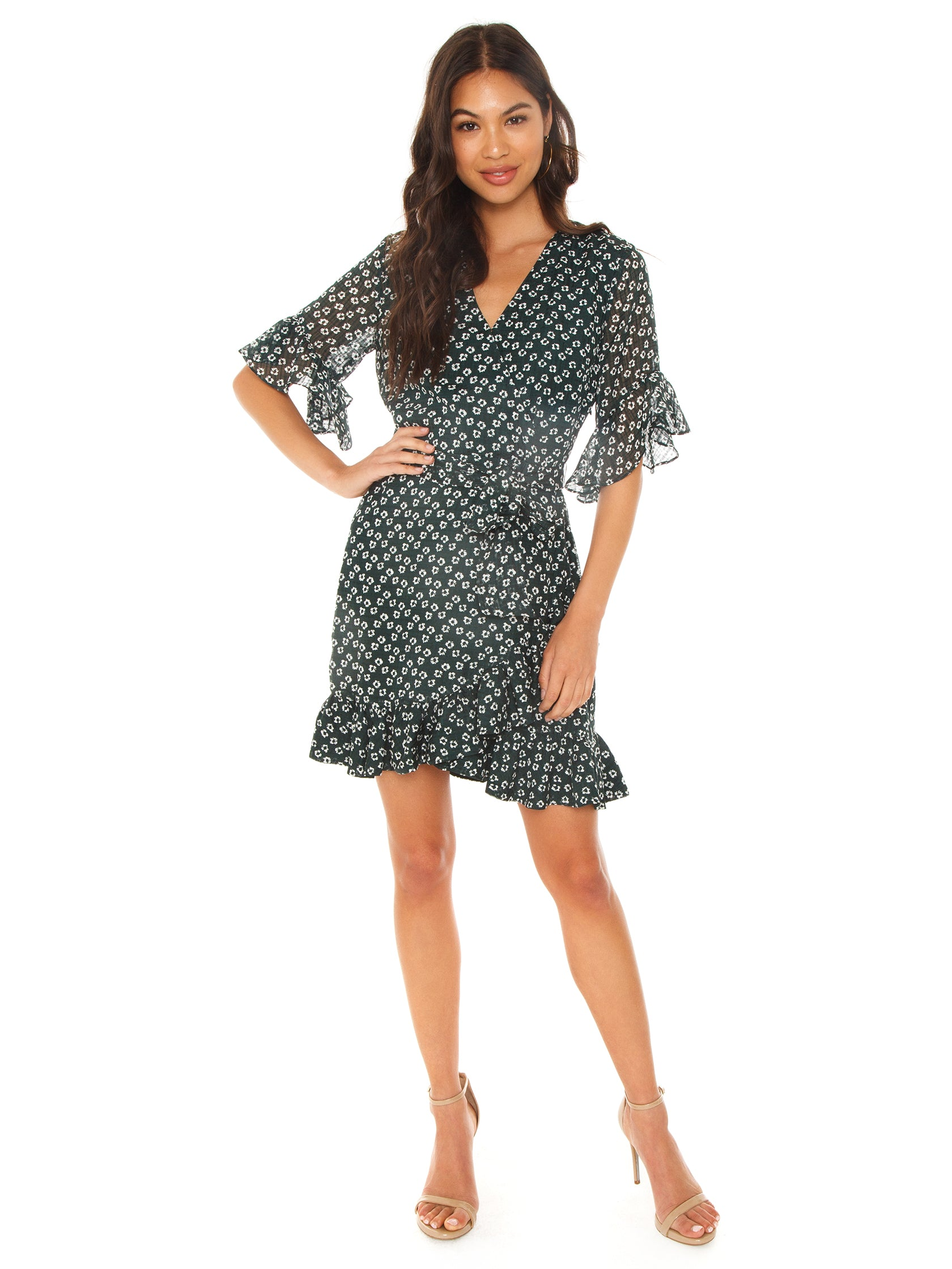 Girl outfit in a dress rental from 1.STATE called Short Sleeve Flounce Flower Etching Wrap Dress