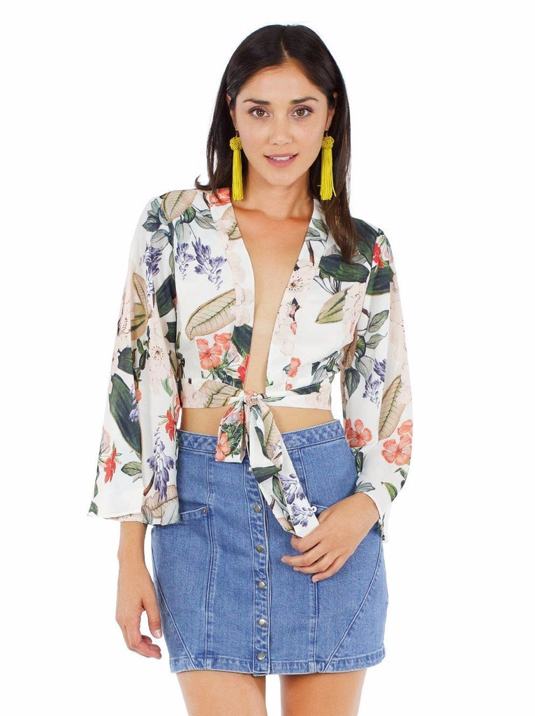 Girl wearing a top rental from Show Me Your Mumu called Durado Denim Jacket