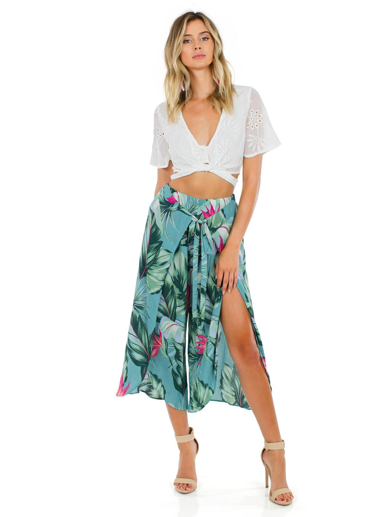 Women wearing a pants rental from Show Me Your Mumu called Limbo Pant