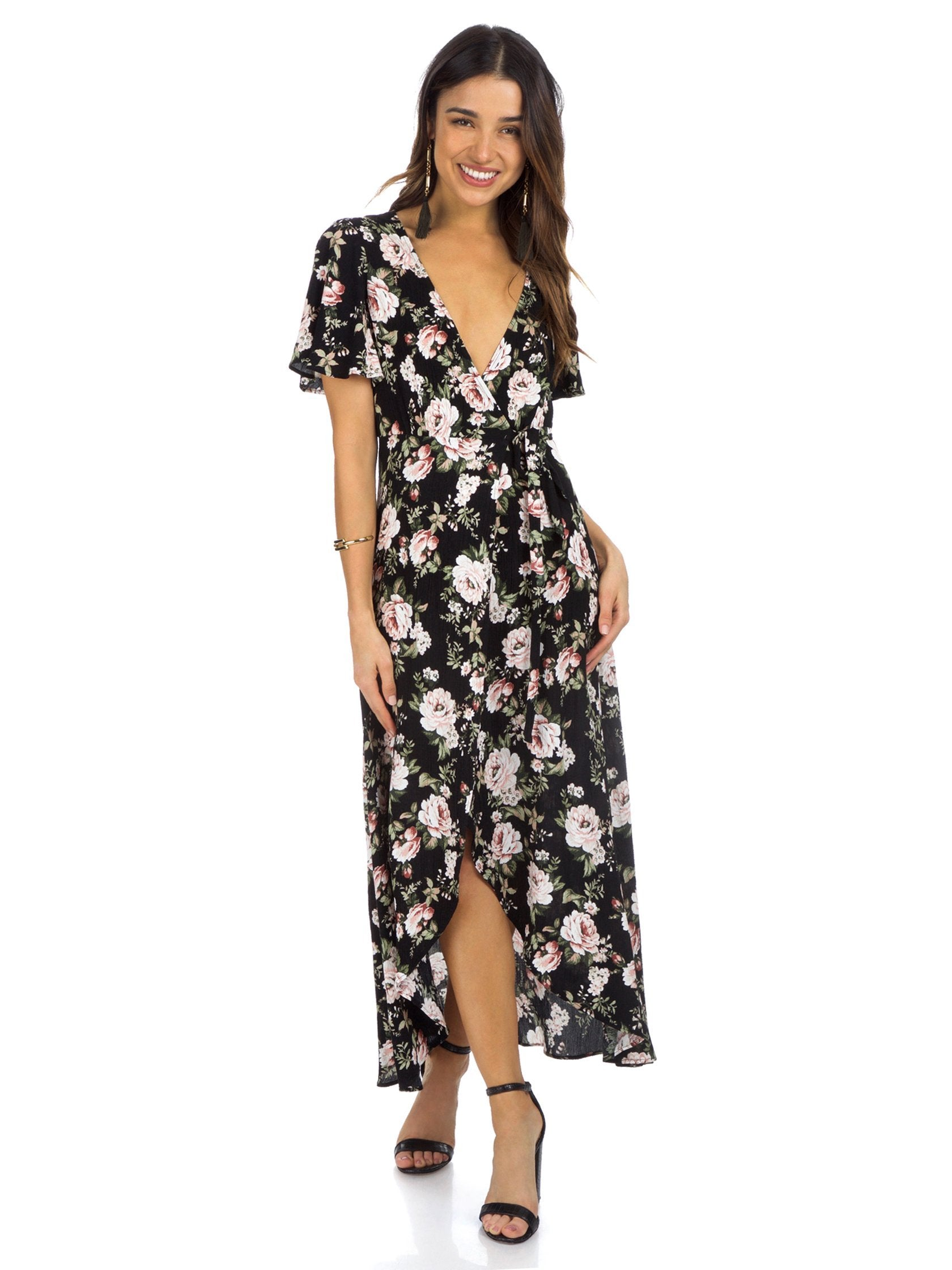 Girl outfit in a dress rental from Show Me Your Mumu called Marianne Wrap Dress
