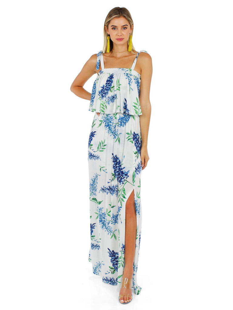 Woman wearing a dress rental from Show Me Your Mumu called Jennifer Jumpsuit