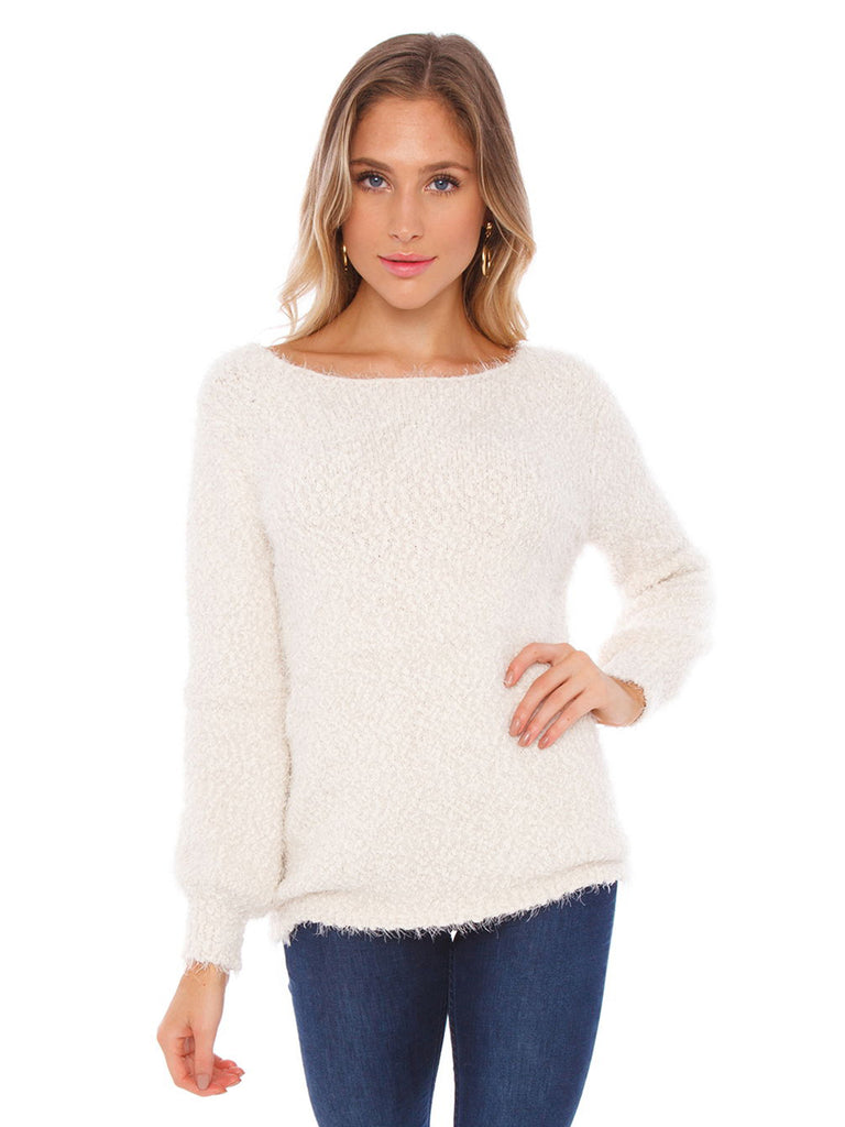 Girl wearing a sweater rental from BB Dakota called V Neck Sweater